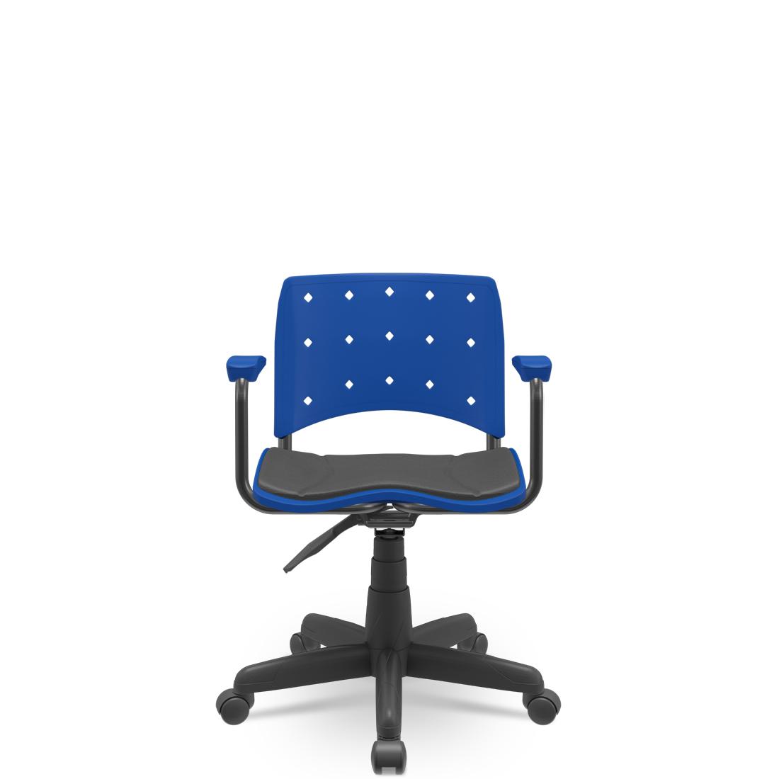 Cadeira Secretária Giratória Ergoplax+ com Braço com Estofado Azul