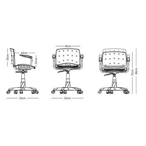 Cadeira Secretária Giratória Ergoplax+ com Braço com Estofado BRANCA