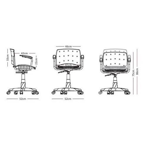 Cadeira Secretária Giratória Ergoplax+ com Braço com Estofado Cinza