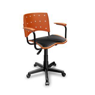 Cadeira Secretária Giratória Ergoplax+ com Braço com Estofado LARANJA