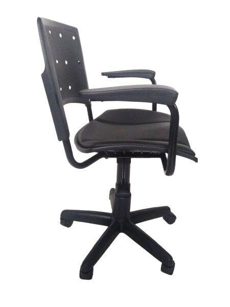 Cadeira Secretária Giratória Ergoplax+ com Braço com Estofado PRETA