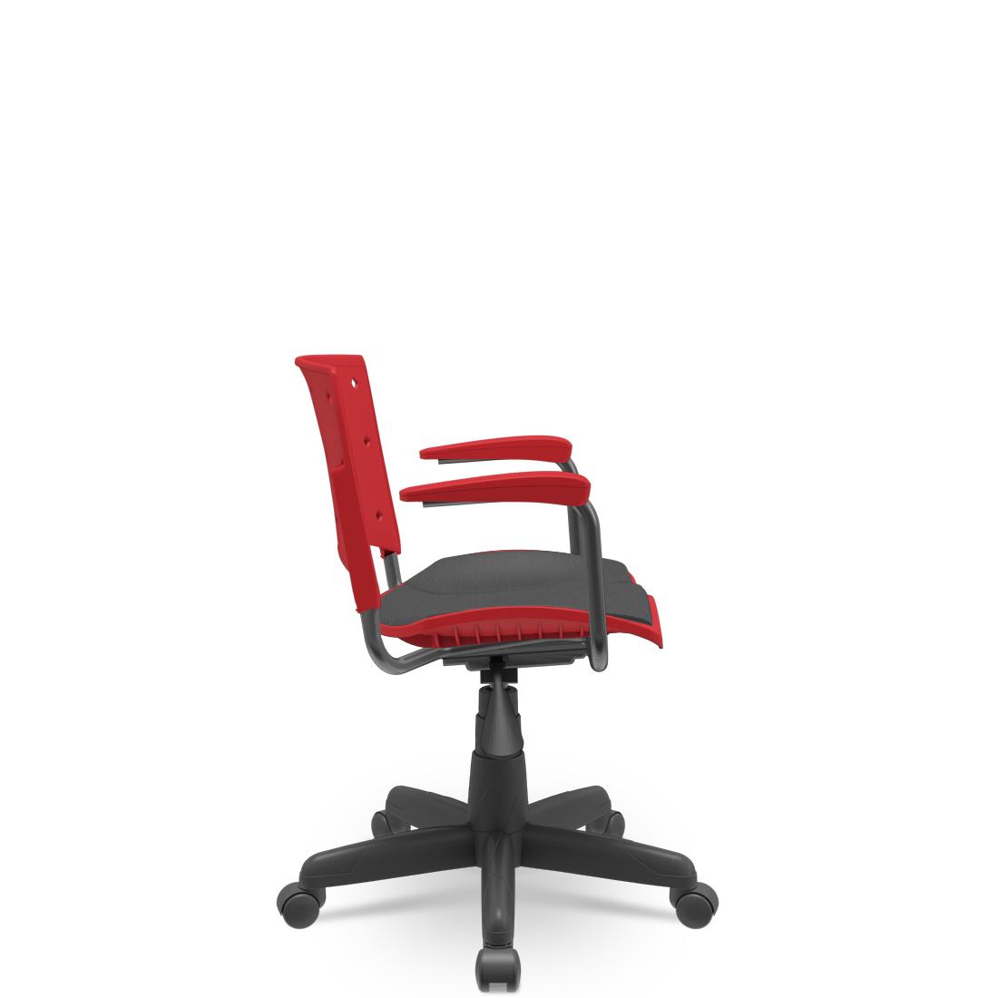 Cadeira Secretária Giratória Ergoplax+ com Braço com Estofado Vermelho