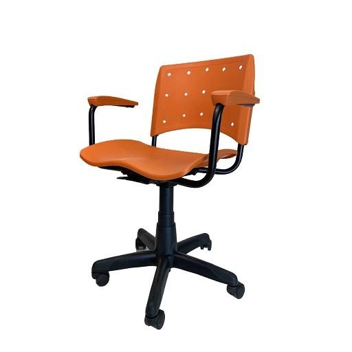 Cadeira Secretária Giratória Ergoplax+ com Braço Laranja