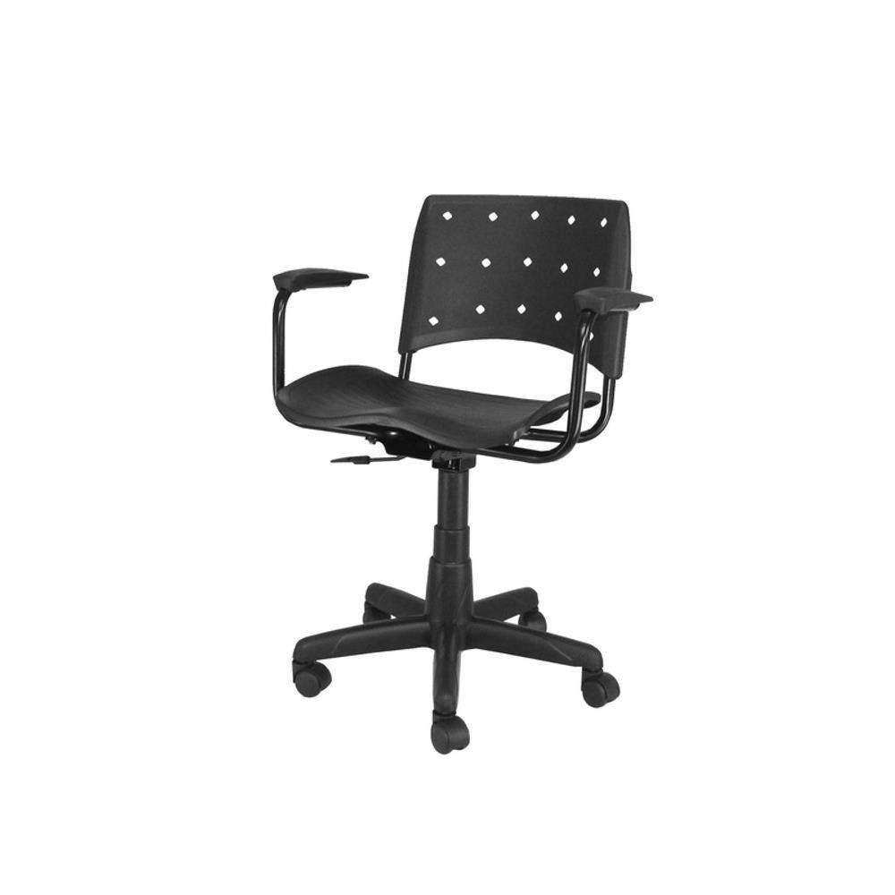 Cadeira Secretária Giratória Ergoplax+ com Braço PRETA
