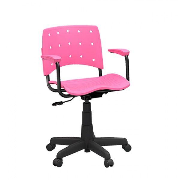 Cadeira Secretária Giratória Ergoplax+ com Braço Rosa
