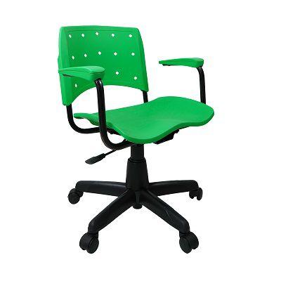 Cadeira Secretária Giratória Ergoplax+ com Braço Verde