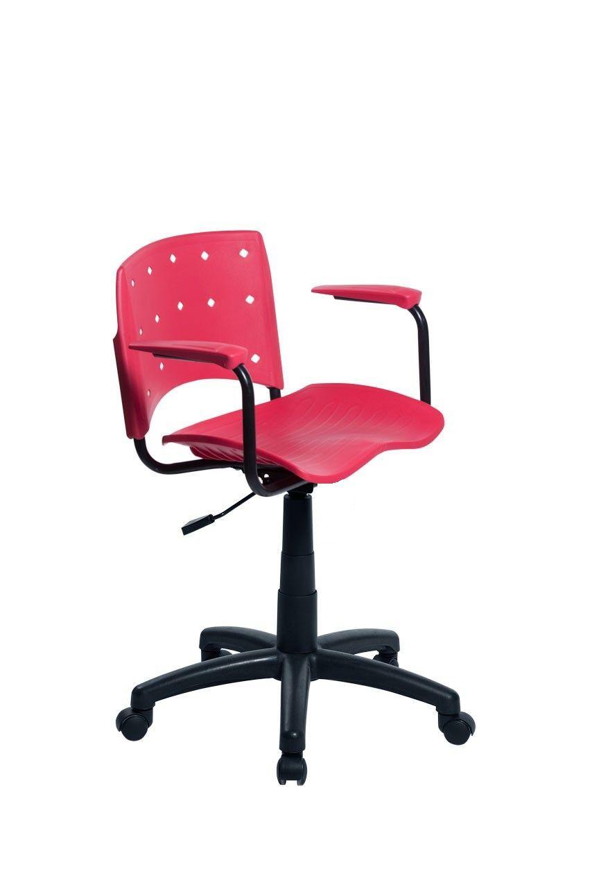 Cadeira Secretária Giratória Ergoplax+ com Braço Vermelha