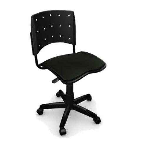 Cadeira Secretária Giratória Ergoplax+ Estofada Preta