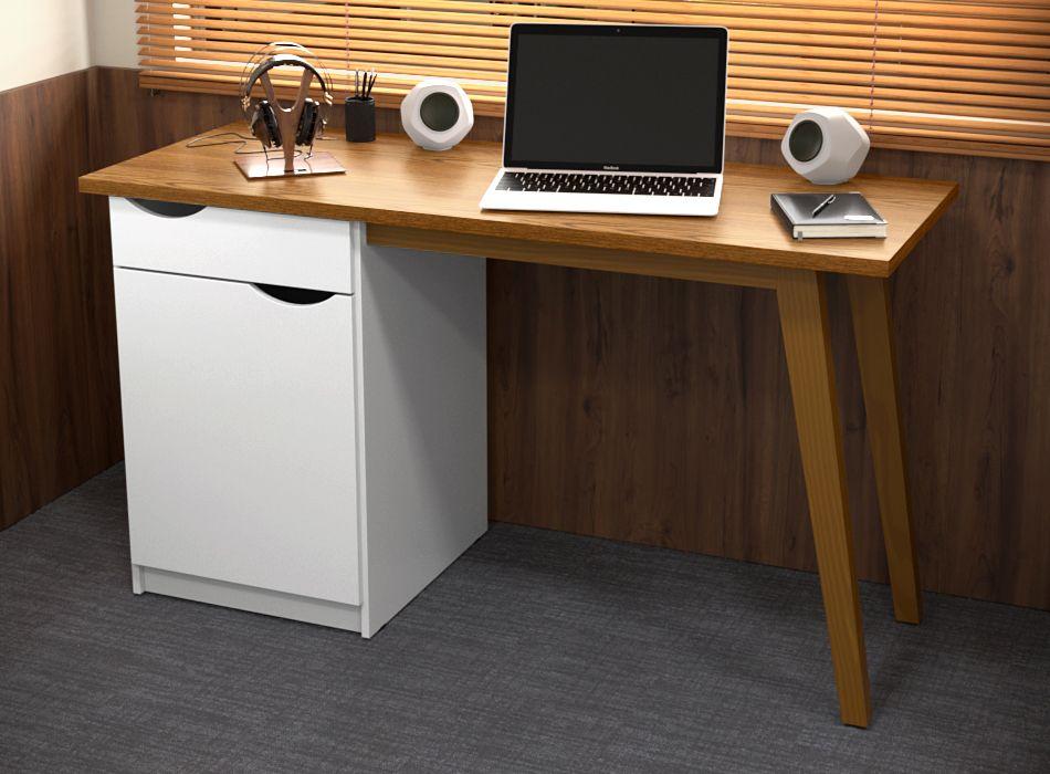 Escrivaninha Prism Branco Acetinado com Cumaru