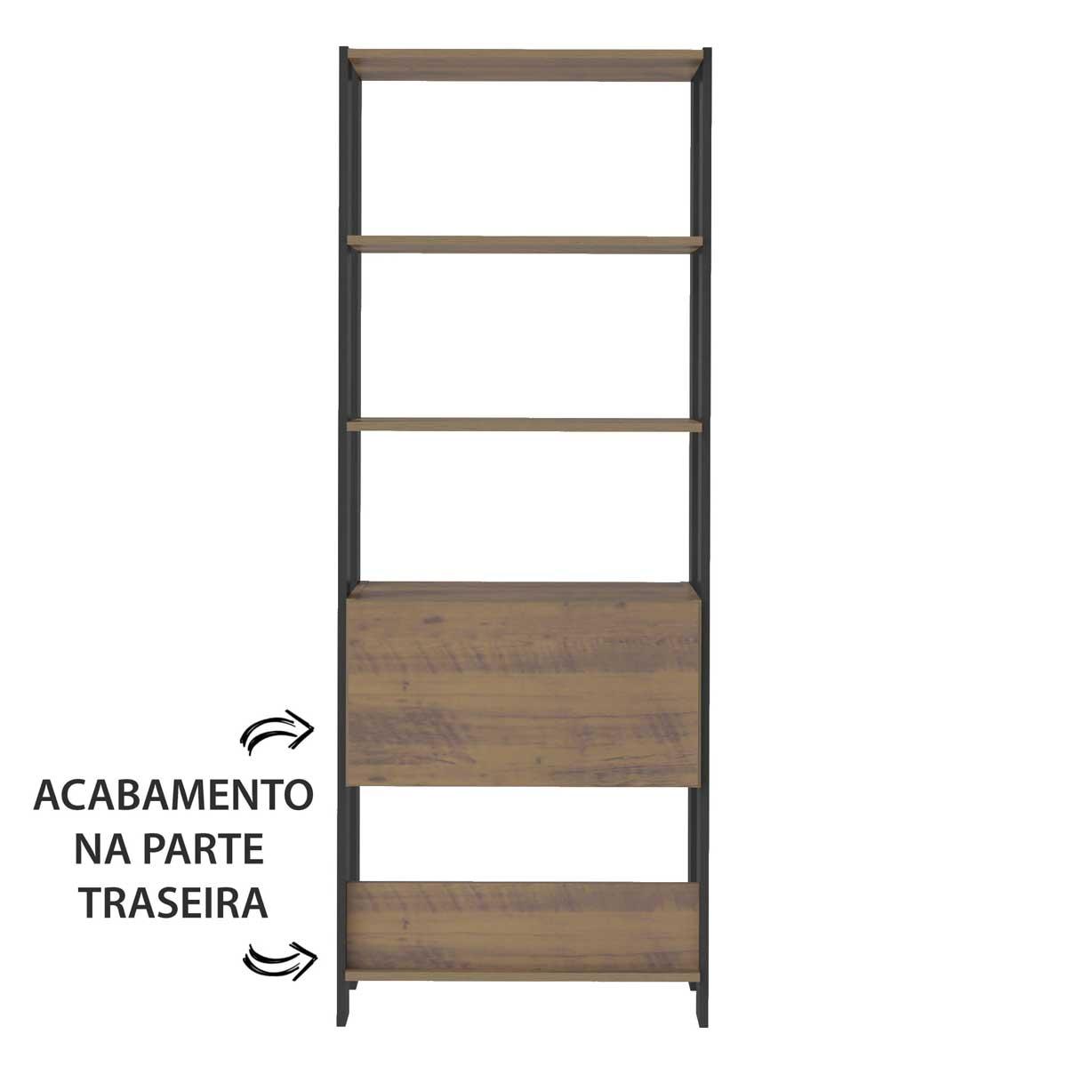 Estante Match com Porta Basculante Pinho/Preto