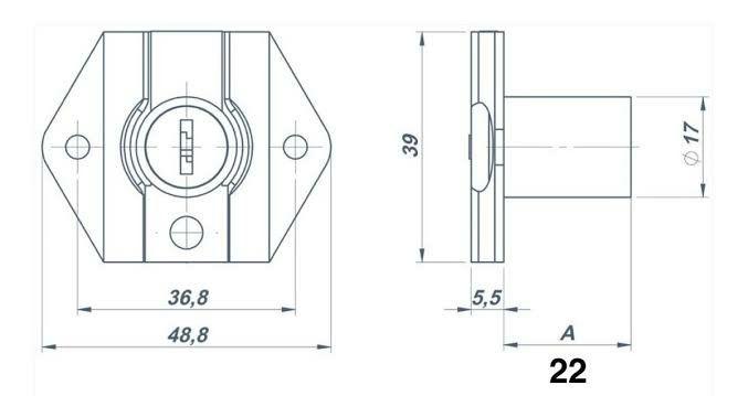 Fechadura para Gaveta de 22 mm Cromada - 2 Chaves