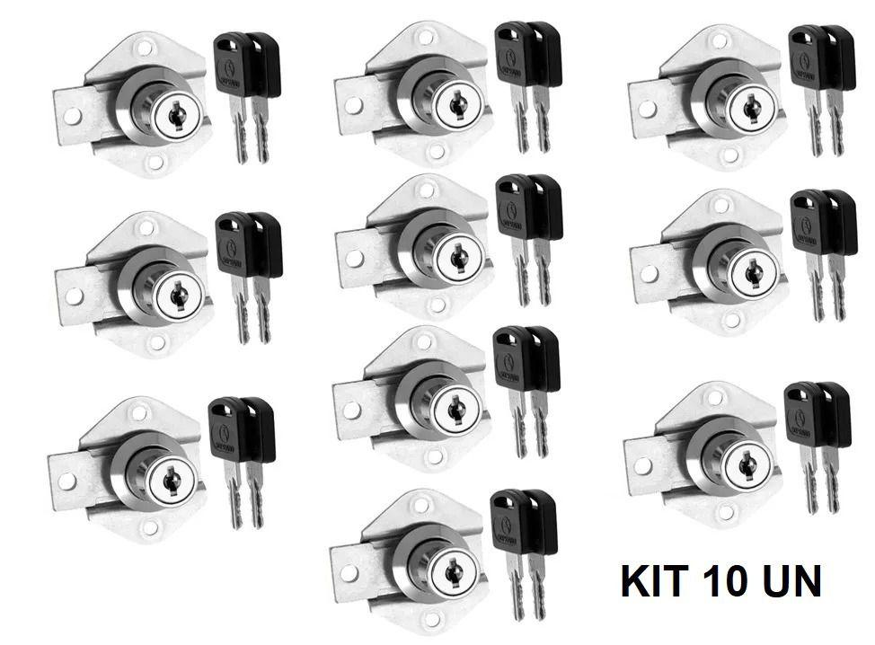 Kit 10 Fechaduras para Gaveta de 22 mm Cromada - 2 Chaves