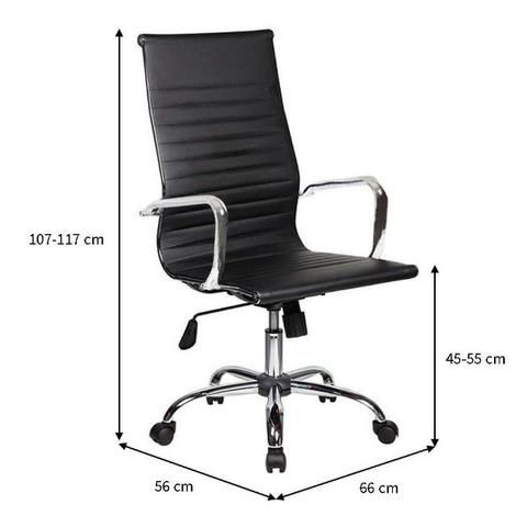 Kit 2 Cadeira Giratória Presidente Charles Eames Preta