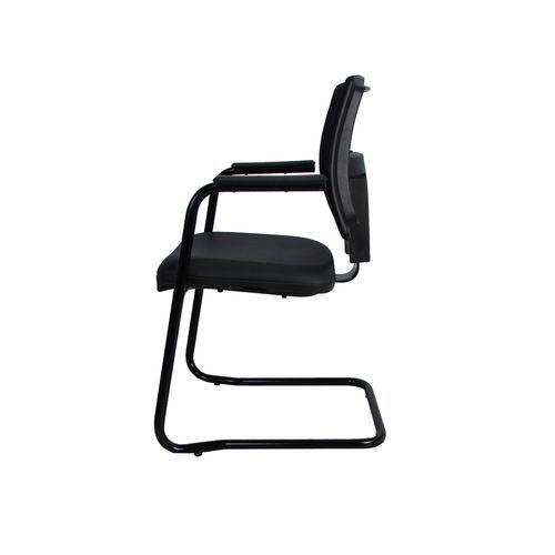 Kit 2 Cadeiras Fixa Executiva Brizza Tela com Braço Preta