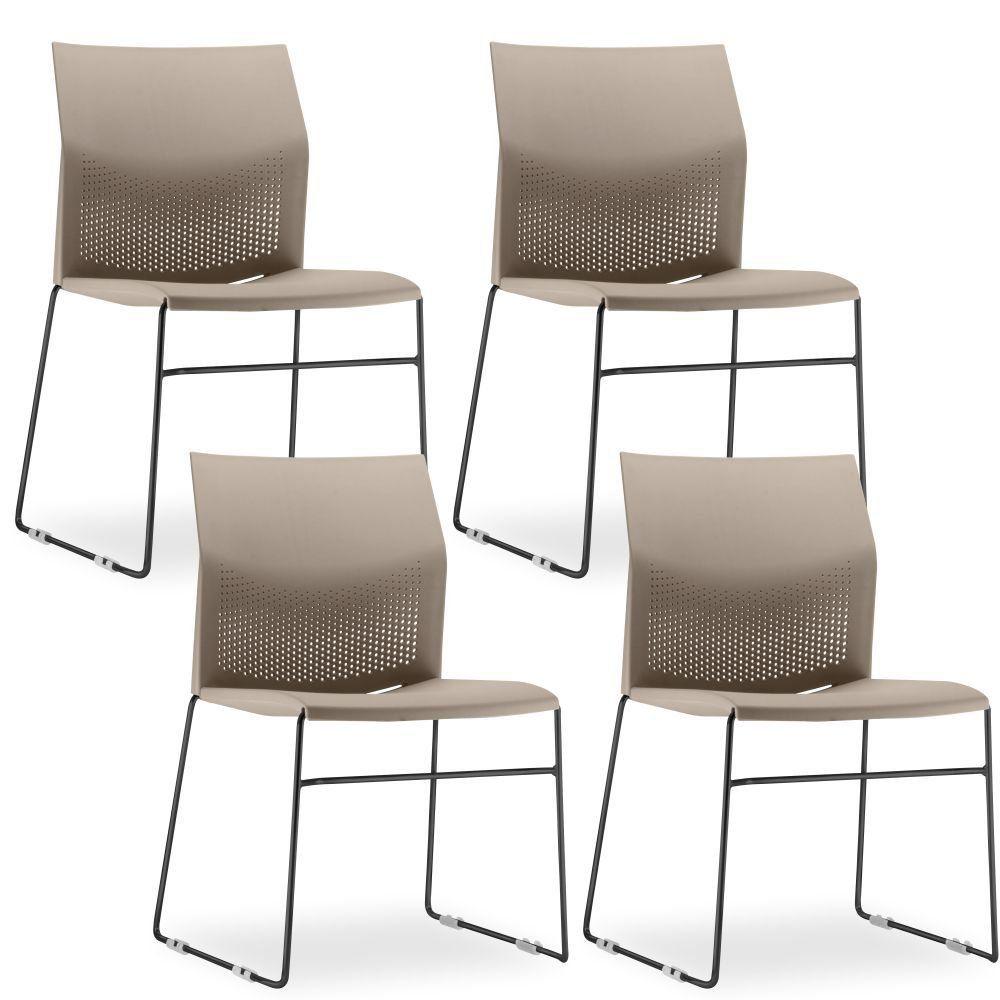 Kit 4 Cadeiras Connect Areia com base Preta