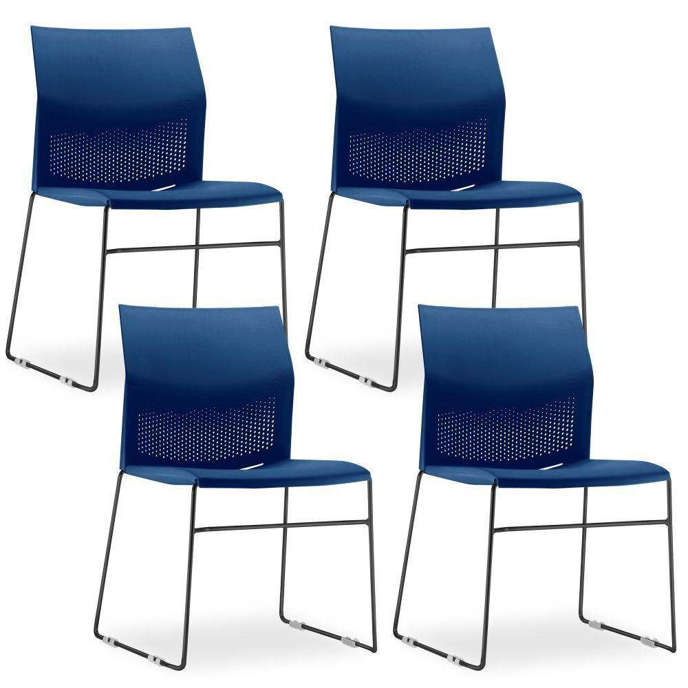 Kit 4 Cadeiras Connect Azul com base Preta