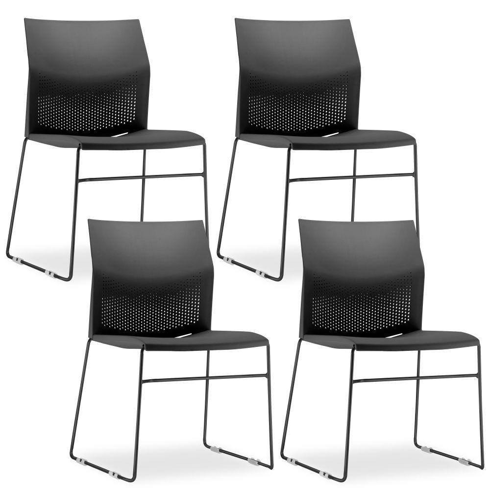 Kit 4 Cadeiras Connect Preta com base Preta