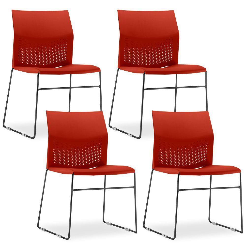 Kit 4 Cadeiras Connect Vermelha com base Preta