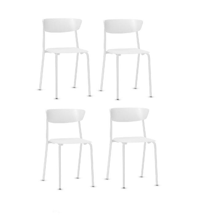 Kit 4 Cadeiras Fixa Bit Branca