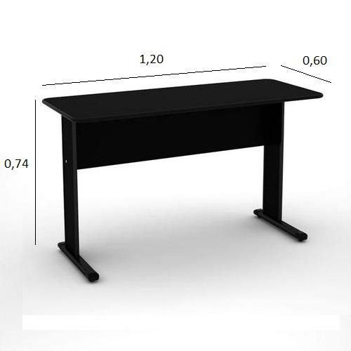Mesa de Escritório Slim 1,20 x 0,60 com 2 Gavetas Preto