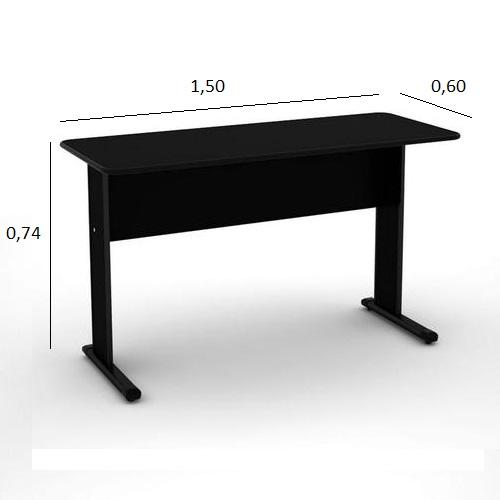Mesa de Escritório Slim 1,50 x 0,60 com 2 Gavetas Preto
