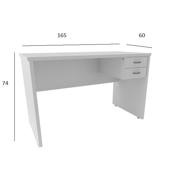 Mesa de Escritório Treviso 1,65 x 0,60 com 2 Gavetas Branco