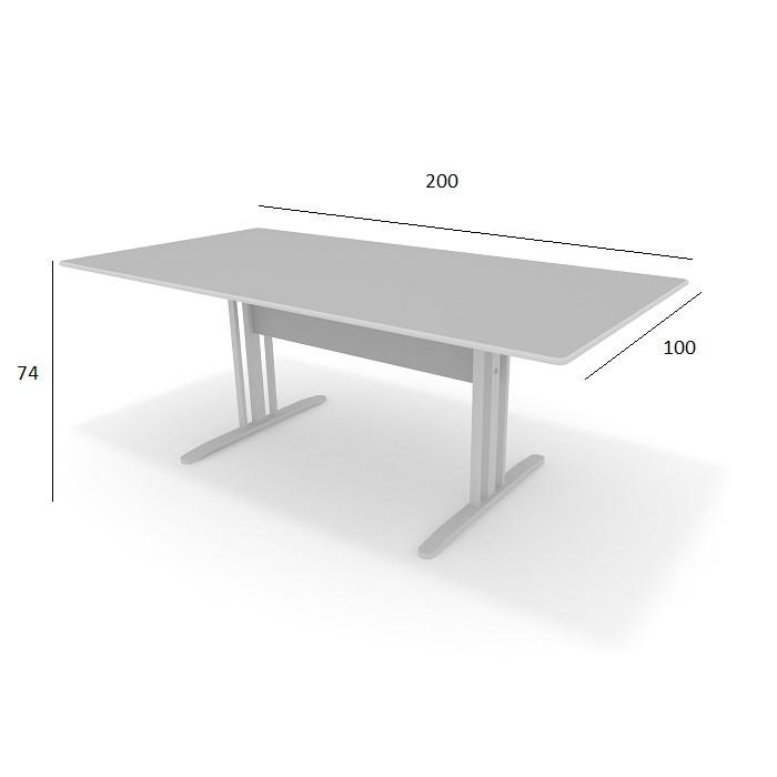 Mesa de Reunião Slim 2,00 x 1,00 Cinza