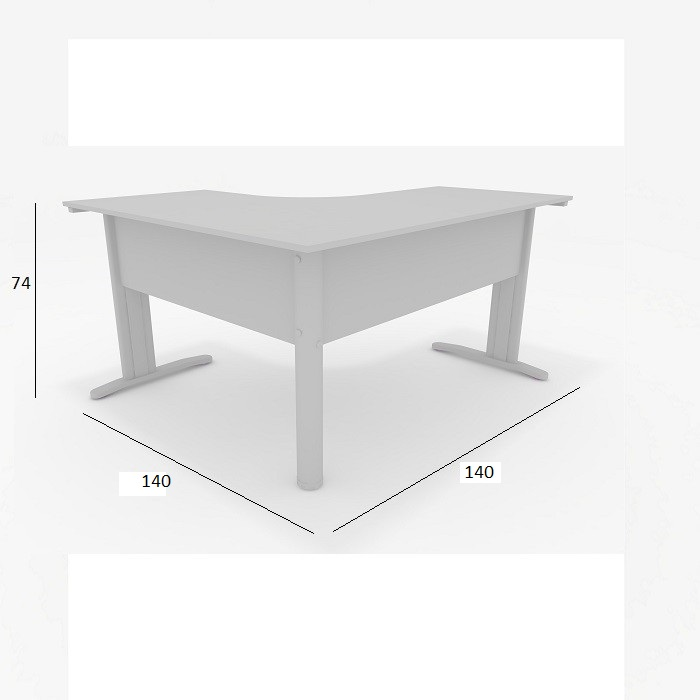 Mesa Delta de Escritório Slim 1,40 x 1,40 Cinza