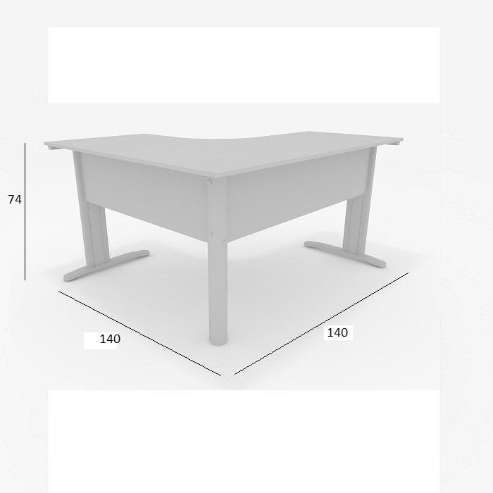 Mesa Delta de Escritório Slim 1,40 x 1,40 com 2 Gavetas Cinza