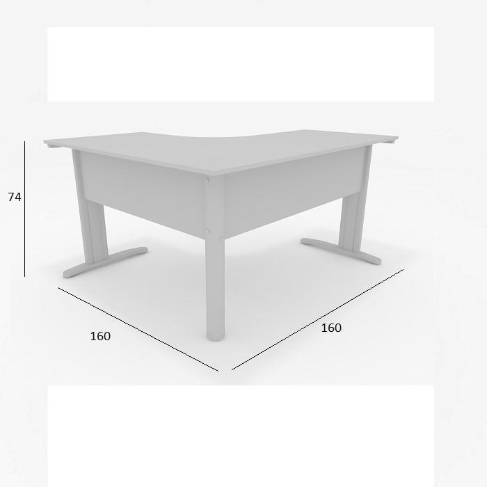 Mesa Delta de Escritório Slim 1,60 x 1,60 com 2 Gavetas Cinza