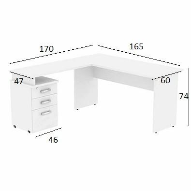 Mesa em L Treviso 1,65 x 1,70 com 3 Gavetas Branco