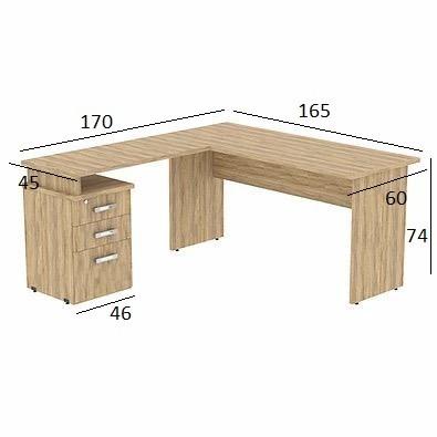 Mesa em L Treviso 1,65 x 1,70 com 3 Gavetas Hanover