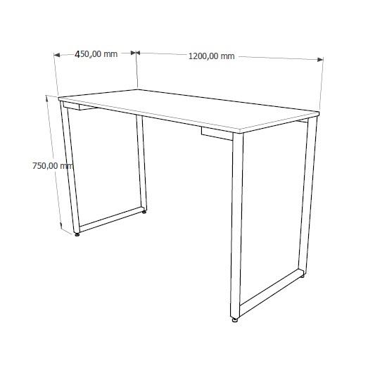 Mesa Industrial FIT 1,20 x 0,45 Preto