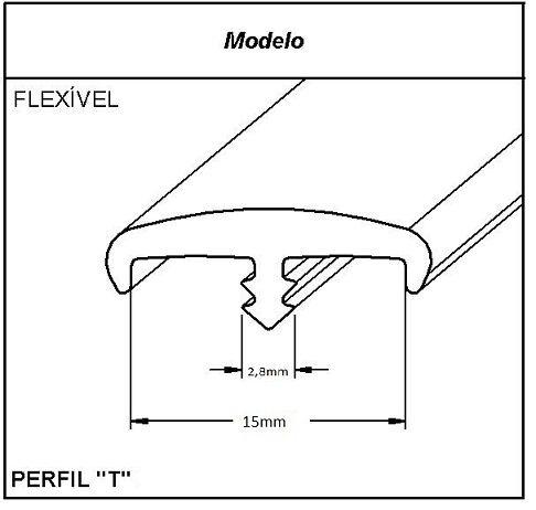 Rolo 10 MT Perfil T Pvc para Móveis - 15mm