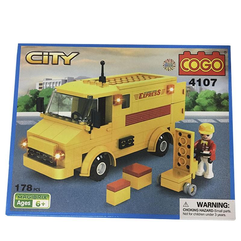 Brinquedo Para Montar Tipo Lego Entregador 178 Peças Cogo Cogo