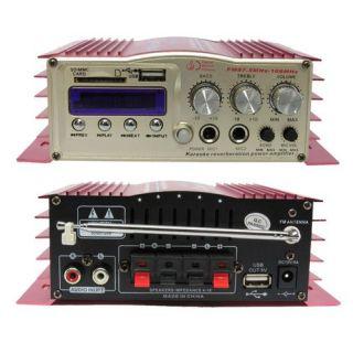 Amplificador Processador 12V USB SD FM Eco Entrada 2Mic. Cont. Rem 100w