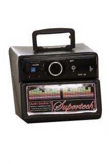 Amplificador Supertech 12v AS8 USB SD Rádio FM Som p/ Ambiente, Festas, Propaganda, etc. 100w