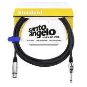 Cabo Microfone Santo Angelo 89468 Standard Anglhg 15ft 4,57m Embo.P10 Xlr Preto