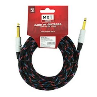 Cabo Mxt 5m 8170 Tecido Rayon P10 P/Instrumento Metal Preto 06549
