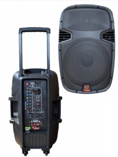 Caixa Amplificada Leacs Lt15 Abs Bluetooth, Usb/Sd/Fm,Fal15 Roda Controle Remoto,Ativa 300wrms