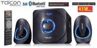 Caixa Amplificada Taicon Ta0701t Bluetooth Usb/Sd/Fm C/Cont.Remoto Multimidia 45wrms