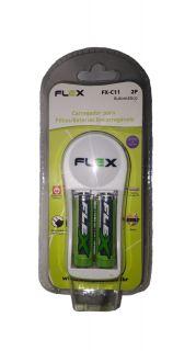 Carregador Flex Fxc11/2p Bivolt C/2 Pilhas Aa 2700 Mah C/Desliga Automático