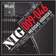 Encordoamento Para Guitarra Nig Nh66 Hibrida 09 Extra