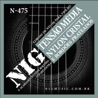 Encordoamento Violão Nig N475 Nylon Cristal Prateada C/Bolinha Media Tensão