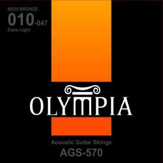 Encordoamento Para Violão Olympia  AGS570 Aco Bronze  010