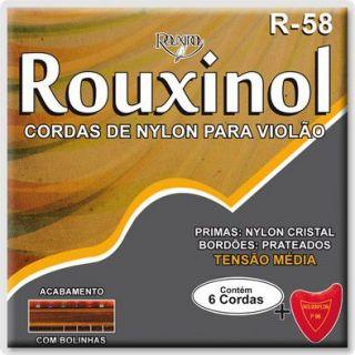Encordoamento Violão Rouxinol R58 Nylon Cris/Prateada T.Media C/Bolinha