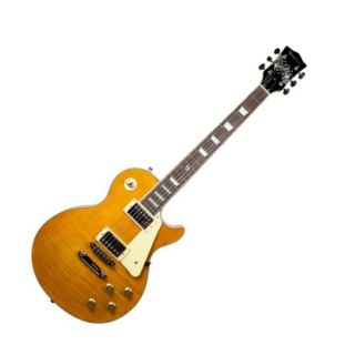 Guitarra Dolphin Lespaul Rocket 9427 Ambar Flamed Top C/Estojo Naturallaran.Tran.
