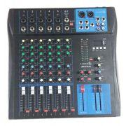 Mesa 7 Canais Lyco LMG0701U Usb 05 Canais Xlr/Trs, 2 Canais P10, C/Efeito Repeat/Delay, Phanto power