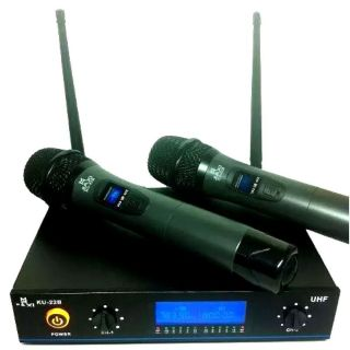Microfone Jiaxi KU22 UHF 1 Freq S/Fio Mao Duplo 2 Ant.1P10/2Xlr