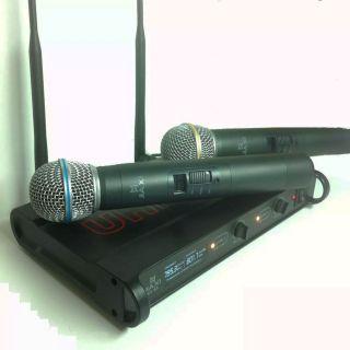 Microfone Jiaxi KU65 UHF Display Lcd 1 Freq S/Fio Mao Duplo 2 Ant.